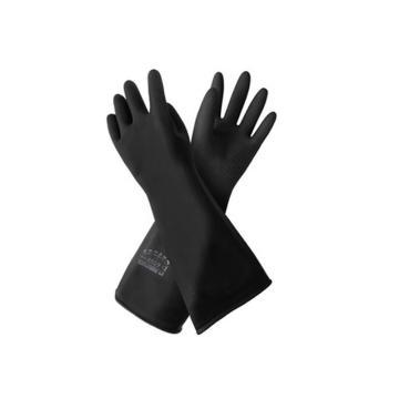 威蝶 乳胶防化手套,31cm,加厚,黑色
