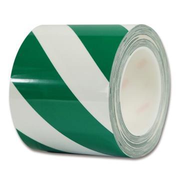 安赛瑞 耐磨型划线胶带,高性能自粘性PP表面覆超强保护膜,100mm×22m,绿/白,15643