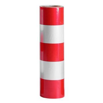 安赛瑞 电线杆防撞警示反光贴膜-3红2白,50cm×50m,13455