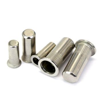 小沉头竖条纹盲孔铆螺母,M5*18.5,不锈钢304,洗白,600个/盒