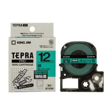 锦宫 彩色标签,黑字绿底12mm×8m每卷 SC12GW 单位:个
