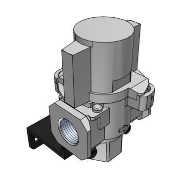 SMC 带锁孔残压释放3通手动阀,单作用型,接管口径Rc1/2,铝制上盖,带托架,内置消音器,VHS30-03B-BS