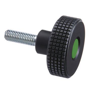 伊莉莎+冈特 菱形滚花旋钮,旋钮带镀锌钢螺杆,绿色,MBT.30 p-M5x10-C17,1个