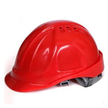 代尔塔DELTAPLUS 安全帽,102106-RO,M型安全帽 带透气孔 红色 旋钮式 含下颚带