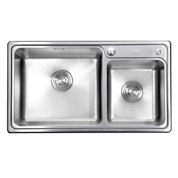 九牧 不锈钢双槽厨房水槽套餐,槽体规格:790*440*200mm,06122-7Z-1