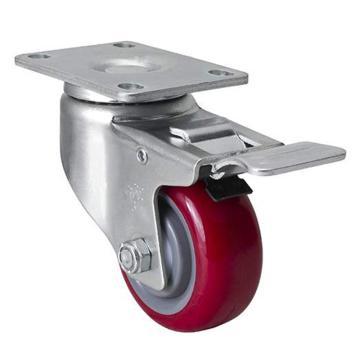 易得力(EDL) 平顶刹车高强度聚氨酯(TPU)脚轮,脚轮中型3寸130kg,50123L-503-85