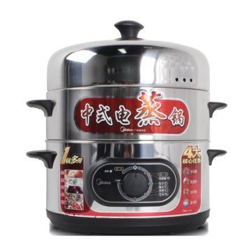 美的(Midea)电蒸锅,SYH28-21 1500W 28cm,机械定时双层不锈钢