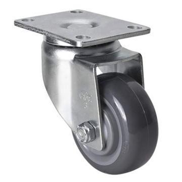 易得力(EDL) 平顶万向聚氨酯(PU)脚轮,脚轮中型3寸130kg,50113-503-75