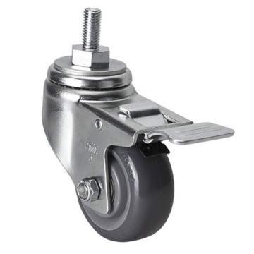 易得力(EDL) 丝口刹车聚氨酯(PU)脚轮,脚轮中型3寸150kg,50143L/M12X25-503-76