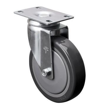 易得力(EDL) 平顶万向聚氨酯(PU)脚轮,脚轮中型5寸130kg,57115-575-77