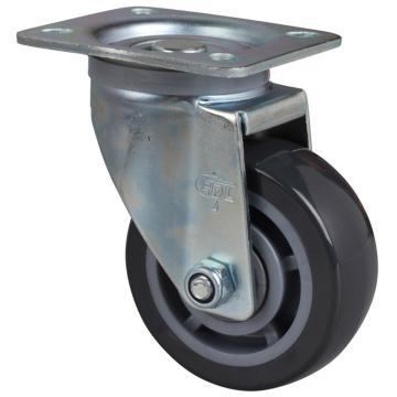 易得力(EDL) 平顶万向聚氨酯(PU)脚轮,脚轮中型4寸200kg,64114-644-76