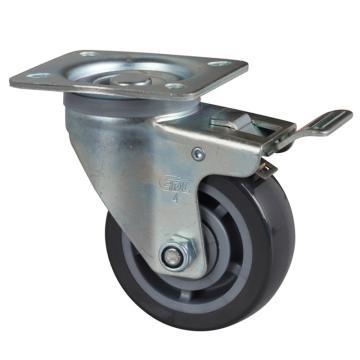 易得力(EDL) 平顶刹车聚氨酯(PU)脚轮,脚轮中型4寸200kg,64124L-644-76