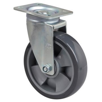 易得力(EDL) 平顶万向聚氨酯(PU)脚轮,脚轮中型6寸200kg,64116-646-76
