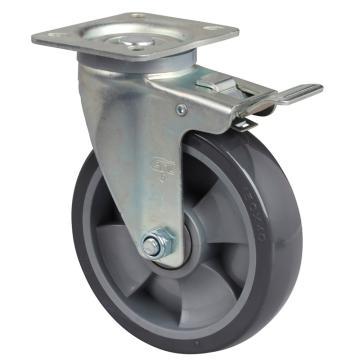 易得力(EDL) 平顶刹车聚氨酯(PU)脚轮,脚轮中型6寸200kg,64126L-646-76