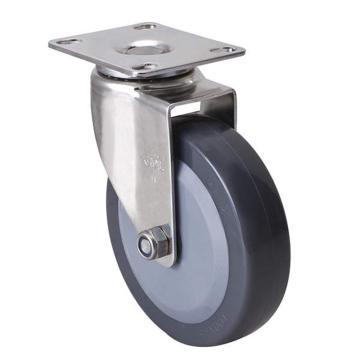 易得力(EDL) 平顶万向聚氨酯(PU)脚轮,脚轮不锈钢轻型4寸70kg,S34714-S344-74