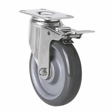 易得力(EDL) 平顶刹车聚氨酯(PU)脚轮,脚轮不锈钢轴承5寸150kg,S54725L-S545-76
