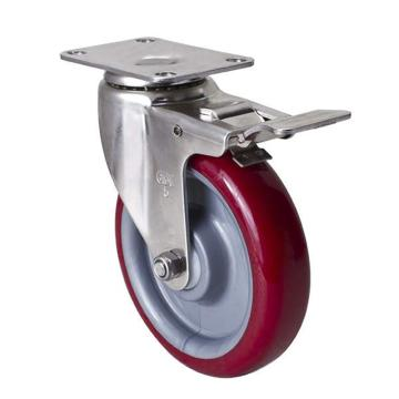 易得力(EDL) 平顶刹车高强度聚氨酯(TPU)脚轮,脚轮不锈钢中型5寸150kg,S54725L-S545-85