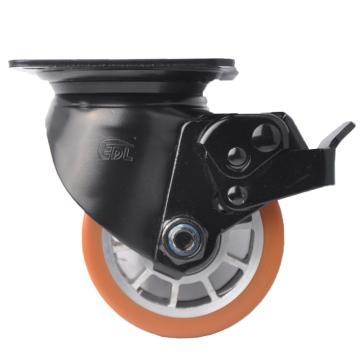 易得力(EDL) 平顶刹车高强度聚氨酯(TPU)设备脚轮,脚轮3寸500kg,M43323L-M433-86A