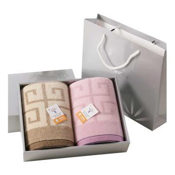 金号 毛巾家纺 纯棉加厚毛巾两条装盒装, 赠手提袋 紫/棕 115g/条 72*36cm