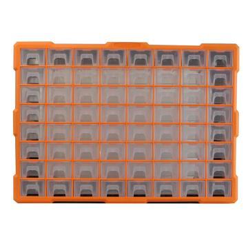 西域推荐 立式零件箱/整理箱/工具箱全新PP料,内隔64盒,尺寸:52*16*37.5cm,型号:G-1511