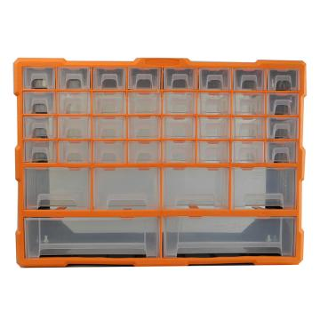 西域推荐 立式零件箱/整理箱/工具箱全新PP料,内隔38盒,尺寸:52*16*37.5cm,型号:G-1510