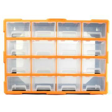 西域推荐 立式零件箱/整理箱/工具箱全新PP料,内隔16盒,尺寸:52*16*37.5cm,型号:G-1509