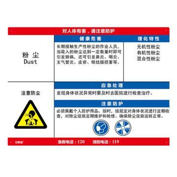 安赛瑞 职业病危害告知卡-粉尘,ABS板,600×450mm,14593