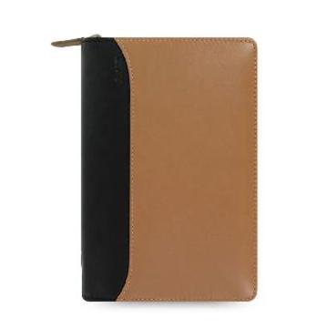斐来仕 笔记本,25152 Filofax Nappa 皮制活页记事本拉链包 褐色/黑 A6
