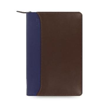 斐来仕 笔记本,25151 Filofax Nappa 皮制活页记事本拉链包 咖啡/蓝 A6
