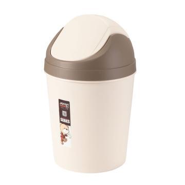 健安圆形摇盖垃圾桶,2844 23.5x38.5cm浅咖啡 36个/箱 单位:个