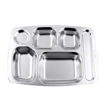 西域推荐 304不锈钢餐盘,10厚特深大六格餐盘 26.5x35.5x3cm