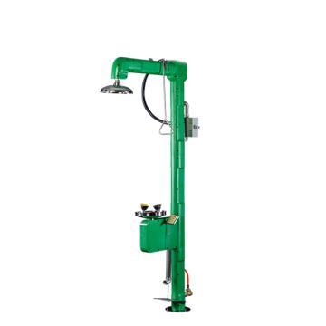 博化 复合式电伴热洗眼器(304不锈钢+绿色ABS),含脚踏,带声光报警灯