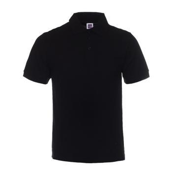纯色大王 短袖全棉POLO衫220g,1AC03,黑色,L