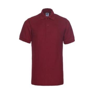 纯色大王 短袖涤棉POLO衫195g,1AC02,酒红色,L
