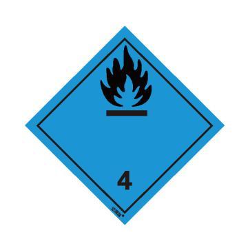 安赛瑞 危险品标识-遇水放出易燃气体的物质 4 , 高性能不干胶,100mm×100mm,32008,20张/包