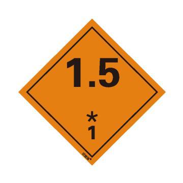 安赛瑞 危险品标识-1.5 爆炸性物质或物品 1, 高性能不干胶,100mm×100mm,39701,20张/包