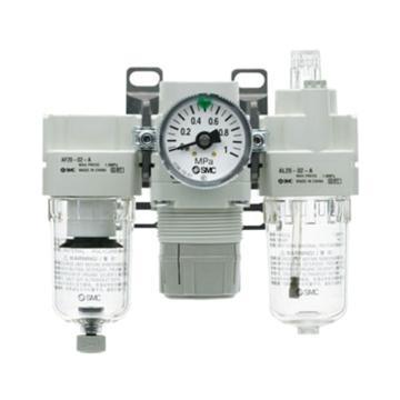 SMC 三联件,空气过滤器+减压阀+油雾器,AC25-02CG-A