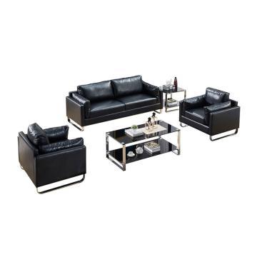 沙发款式二,1+1+3+双茶几,DT-sf010 西皮 黑色