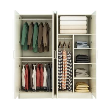 西域推荐 四门衣柜,暖白色 防火板140*50*180cm