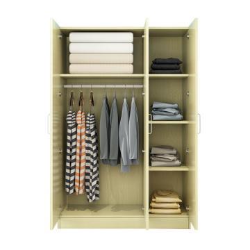 西域推荐 三门衣柜,白枫色 防火板120*50*180cm