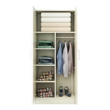 西域推荐 二门衣柜,暖白色 防火板80*50*180cm