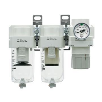 SMC 三联件,空气过滤器+油雾器+减压阀,AC40C-04-A