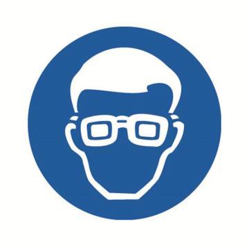 安赛瑞 GB安全警示标签-必须戴防护眼镜,Ф100mm ,32836,10片/包