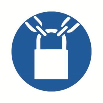安赛瑞 GB安全警示标签-必须加锁,Ф100mm ,32843,10片/包