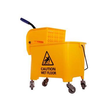 白云轻巧型单桶榨水车,AF08068 20L侧压式拖把桶旋转酒店保洁挤水桶