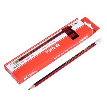 晨光 HB铅笔,AWP30802 (红黑色抽条笔杆),12支/盒 单位:盒(替代:MWW705)
