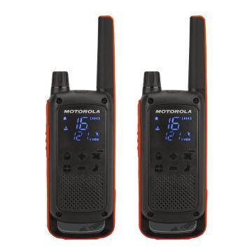 摩托罗拉 T82公众对讲机(两只装),免执照对讲机 户外装备 防水设计,适用于平面沟通0.5W功率