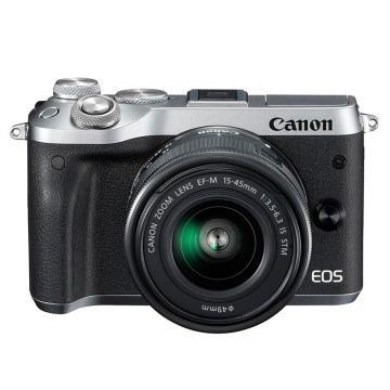 佳能Canon 数码微单相机,半画幅专微(约2420万像数)EOS M6(15-45)黑 白 银