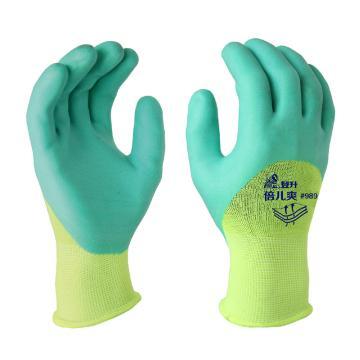 登升 乳胶涂层手套,989,浅绿胶透气王手套