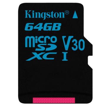金士顿存储卡,64GBTF(MicroSD)存储卡U3C10V30专业版读速90MB/s支持4K终身保固
